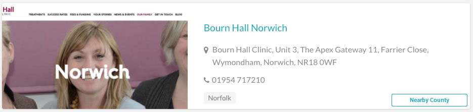 Bourn Hall Norwich Clinic Listing