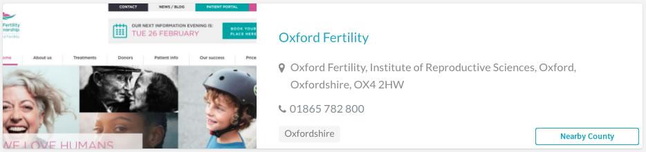 Oxford Fertility Clinic Listing