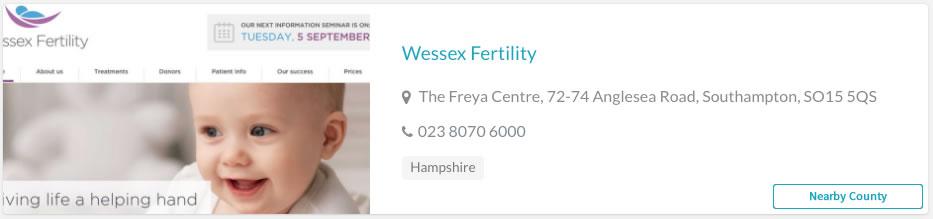 Wessex Fertility Clinic Listing